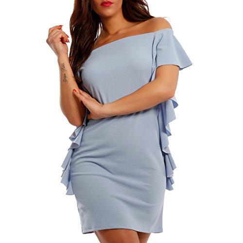 Made Italy Damen Minikleid Etuikleid mit Rüsche und Carmen-Ausschnitt, Farbe:Blau;Größe:One Size