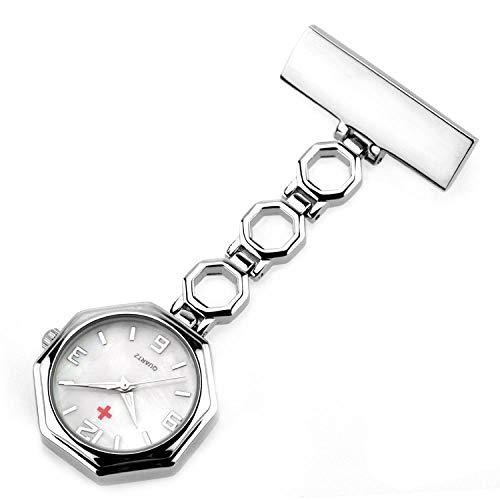 Cxypeng Damen Schwesternuhr,Achteckige Krankenschwestertisch Taschenuhr Doktor hängende Uhr männlichen und weiblichen Stift Brust-weiß,Pulsuhr Kitteluhr Pflegeuhr
