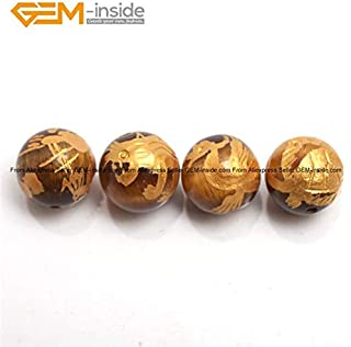 Calvas Gem-Inside 10-14mm Natural Yellow Tiger Eye Mix 4 in One Set Gold Carved Dragon Turtle Tiger Phoenix Beads for Jewelry Making - (Color: Mix 10mm)