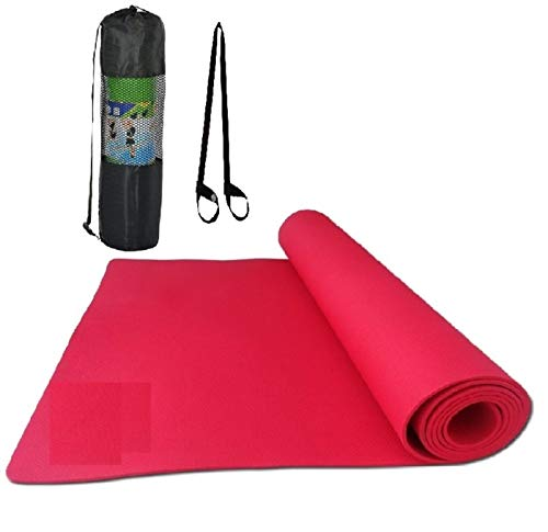 EFFINGO Non-Slip Surface Yoga Mat with Bag and Carry Strap for Sports, Exercise or Fitness (Red) (4MM)