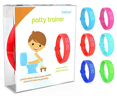 Potty Trainer – New Upgraded Version – Toilet Trainer for Kids Makes Potty Training Easier – Watch with Extra Wrist Band, Smaller Wrist Band Size, Water Resistant + More Colors (red + Blue)