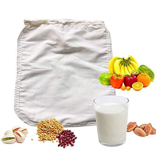 Productos Tuerca Bolsa de leche Bolsa de filtro profesional para almendras, coco, yogur griego, leche de soja, algodón orgánico de grado alimenticio y colador de alimentos reutilizable de cáñamo