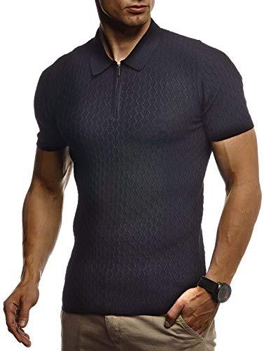 Leif Nelson Herren Sommer T-Shirt Poloshirt Slim Fit aus Feinstrick Cooles Basic Männer Polo-Shirt Crew Neck Jungen Kurzarmshirt Polo Shirt Sweater Kurzarm LN7315 Schwarz Medium
