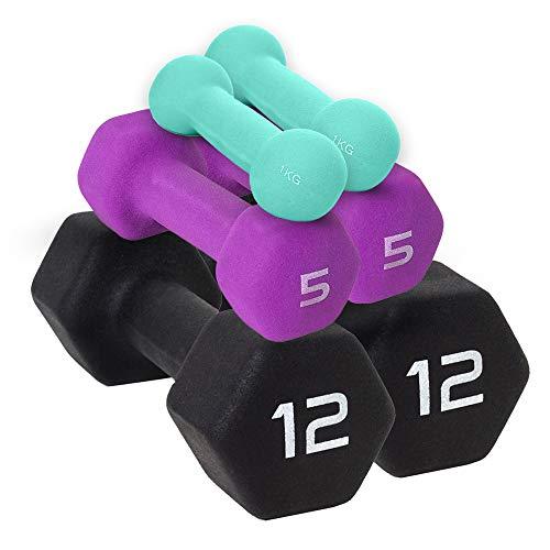 Xn8 Neopren Hanteln Hand Gewichte Set Hanteln für Home Gym Übung Fitness Training Gewichtheben Bodybuilding Muskelaufbau Pilates (schwarz, 0,5 kg Paar = (1 x 2 = 0,9 kg)
