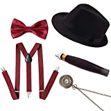 Conjunto de accesorios para el disfraz de gángster masculino Gatsby de los años 20, disfraz de flapper de los años 20 (Negro + Rojo)