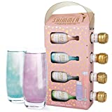 Thoughtfully Gifts, Champagne Shimmer, Each Bottle Makes up to 15 Shimmery Drinks, Set of 4 (Contains NO Alcohol)