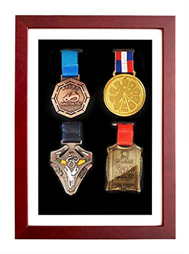 3D Deep Box Picture Frame for Marathon Medal Storage Box,Solid Wood Frame for Medal Awards, Best Gifts to Display War/Military/Sports Medals(rosewood color 24X33cm 4 medals (inner A4 size))