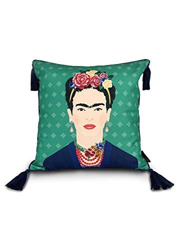 Frida Kahlo Green Vogue - Cojín (45 x 45 cm), color verde