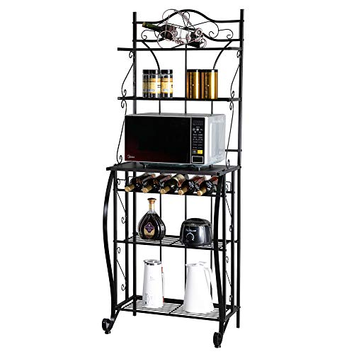ROVSUN Upgrade Multiuse 5-Tier Metal Kitchen Bakers Rack , Artisasset Microwave Storage Rack Oven Stand with Wine Storage Organizer Workstation Black (25' x 16' x 68')