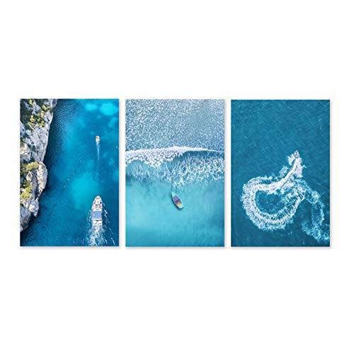 NIEMENGZHEN Imprima en Lienzo Blue Sea y Lance Cuadros de Pi