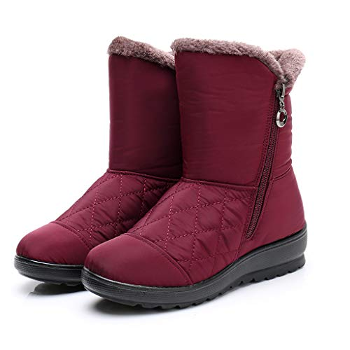 Find Discount Milamy Women's Snow Boots Winter Warm Plush Lined Chunky Booties Ladies Outdoor Wate...