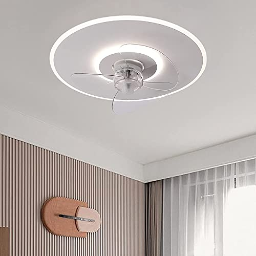 Ventilador LED con luz de techo y control remoto silencioso, regulable, pequeño ventilador de techo, 3 velocidades con temporizador, moderna sala de estar, silencioso, ultrafino, ventilador de techo