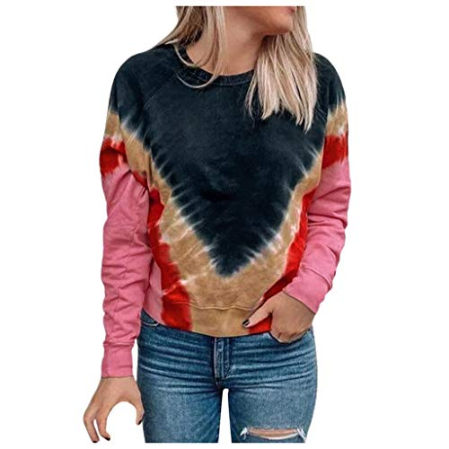 Fantastic Prices! AHUIGOYCE Tie-Dye Causal Pullover Long Sleeve Sweatshirt Floral Print Top Blouse