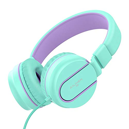 415ERcjJADL - AILIHEN I35 Kid Headphones with Microphone Volume Limited Childrens Girls Boys Teens Lightweight Foldable Portable Wired Headsets for School Airplane Travel Cellphones Tablets (Pink Purple)