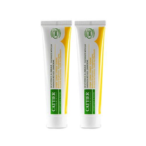 CATTIER PARIS Bio-Zitrone Zahncreme mit Heilerde (2x75ml), angenehm milde Bio-Zahnpasta, Zitronengeschmack, Remineralisierend, Vegan, Fluoridfrei, Sulfatfrei, Naturkosmetik, Homöopathieverträglich