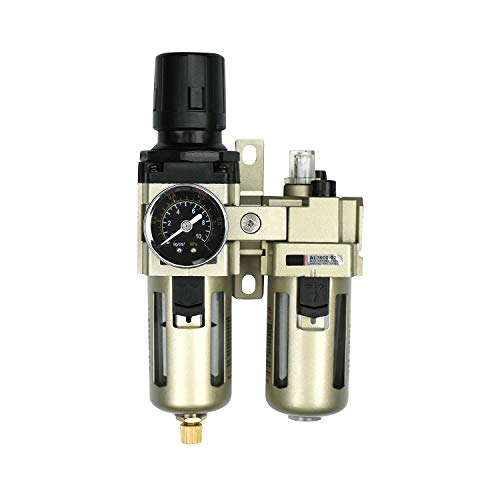 Neu Wasserabscheider Druckminderer Druckluftregler für Druckluftkompressor,1/4 Zoll Filter und Ölnebel mit Becherabdeckung