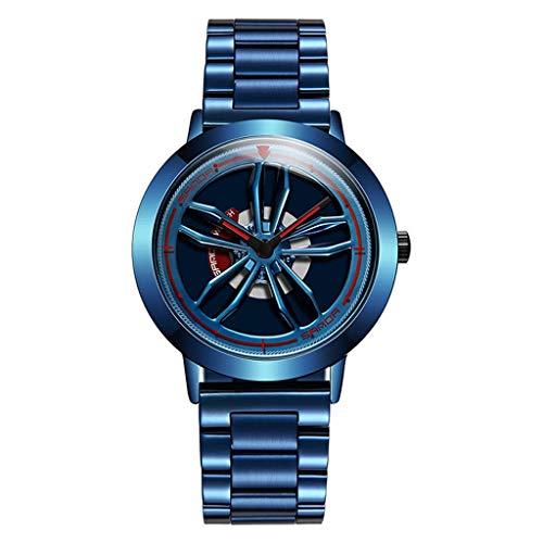 GLEMFOX Heren kwartshorloge 360 ° draaibare wijzerplaat Stijlvol volledig stalen horloge gegepersonaliseerd casual zakelijk horloge armband Small blauw