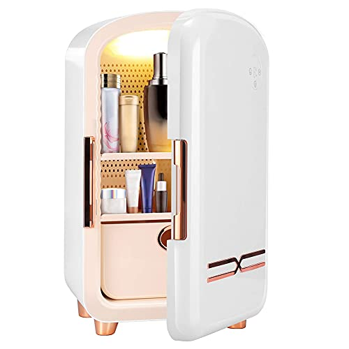 SETSCZY Mini Fridge 12 liters,Portable Mini Cooler Skincare Fridge for Makeup Storage, Portable Beauty Fridge Thermoelectric Cooler and Warmer for Skincare, Bedroom and Travel Fridge Organizer,White