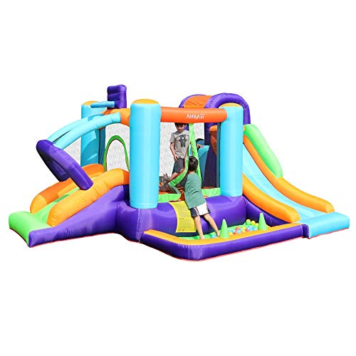 AirMyFun Bounce House with Blower Inflatable Playhouse with Water Slide Bouncy House for Kids Outdoor Indoor Durable Sewn Jumping Castle with Ball Pit Basketball Hoop