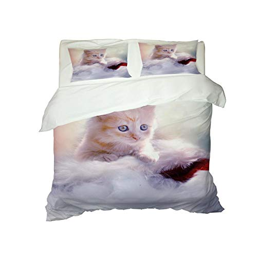 Kekeyt Duvet Cover Sets Kitten Cure Series Grey Bedding Sets King Size Double Duvet Covers Set 3D Hd Printing 230 X 220 Cm-Cotton adult children's bedding