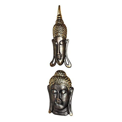 Design Toscano QS928511 Asiatiques des bouddhas Sukhothai et Bodh Gaya Jeu de 2 Sculpture murale Bronze 6,25 x 19 x 32 cm