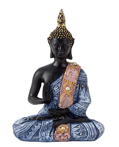 Lifestyle & More Moderne Skulptur Dekofigur Buddha aus Kunststein schwarz/blau 15x11 cm