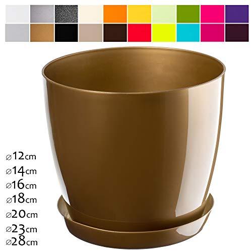 KADAX Blumentopf, Pflanzkübel mit Untersetzer, runder Blumenkübel für Innen, eleganter Pflanztopf aus Kunststoff, Übertopf für Blumen, Pflanzen, Haus, leichtes Pflanzgefäß (Ø 14 cm, Gold)