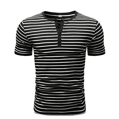 SSBZYES Camisetas De Hombre Camisetas De Manga Corta De Verano para Hombre Camisetas De Rayas De Hombre Camisetas De Cuello Redondo Costuras De Escote De Hombre Camisetas De Manga Corta