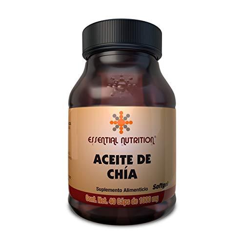 Essential Nutrition, Aceite de Chía 40 Cápsulas de 1000 mg