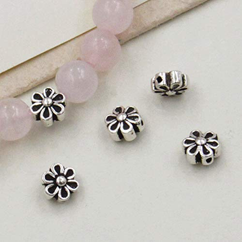 S925 Thai Silver Small Flower Spacer Loose Beads Feng Shui Charms for Bracelets DIY Gifts for Healing Crafting Jewelry Making Bulk Attract Money Accessories Necklaces for Good Luck Wealth