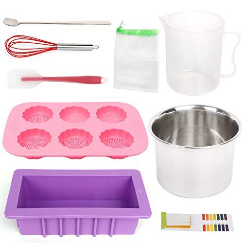 HOTOOLME DIY Seifenherstellung Zubehör Kit - 10 Stück Starter Set inklusive rechteckige Silikon Seife Form für handgemachte Seife