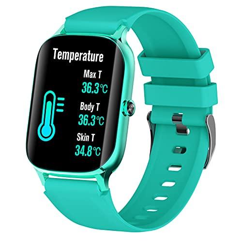 QFSLR Reloj Inteligente Smart Watch con Monitoreo De Temperatura De Reloj Inteligente Monitor De Frecuencia Cardíaca Monitor De Presión Arterial Monitoreo De Oxígeno En Sangre,Azul