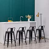 30 inch Metal Barstools Set of 4 Indoor Outdoor Bar Stools with Back Kitchen Dining Counter Stools Bar Chairs Matte Black