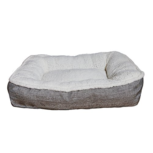 Large dog bed for large dogs ,machine washable, super soft and cosy plush mattress, grey and cream, 91 x 68 x 15cm (approximately 36 x 27 x 6 inch)