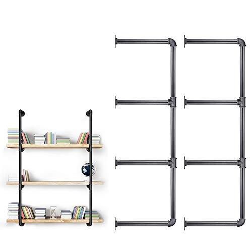 3/4 Inches Malleable Cast Iron Pipe 2 PCS 4 Tier. Vintage Industrial Wall Mount Bookshelf Shelving Unit, DIY Open Bookshelf, Shelf Shelves, Home Improvement Kitchen Shelves.