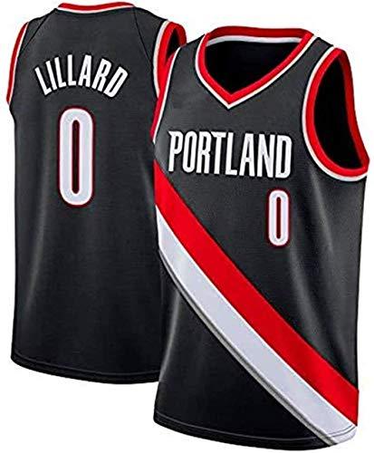 Camiseta de Baloncesto para Hombre, NBA, Portland Trail Blazers #0 Damian Lillard, #00 Carmelo Anthony. Bordado, Transpirable y Resistente al Desgaste Camiseta para Fan (Icon negro Lillard, L)