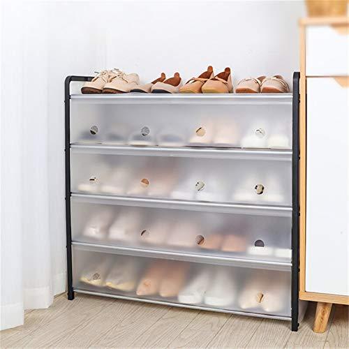 Zapatero, organizador de almacenamiento de zapatos con cubierta a prueba de polvo desmontable, gabinetes de zapatos Hogar de pie Soporte de ahorro de espacio Estante de zapatos ( Color : 4 Layers S )