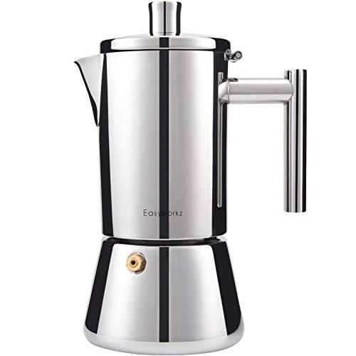 Easyworkz Diego Stovetop Espresso Maker Stainless Steel Italian Coffee Machine Maker Moka Pot For 4-6Cups 10oz Espresso Pot For Induction Gas and all stoves (Silver, 300ml)