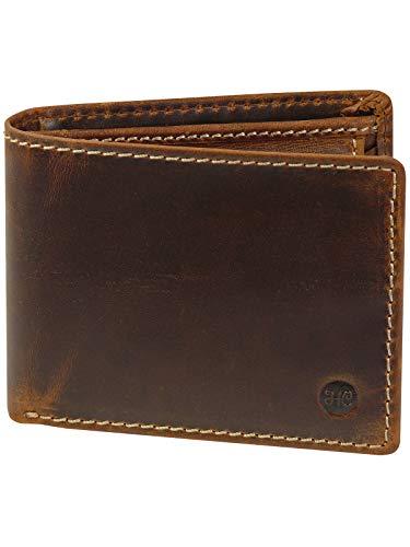 Harrys-Collection sehr robuste Echtleder Börse im Vintage Look mit RFID Schutz, Farben:braun