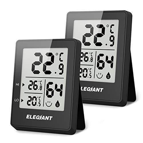 ELEGIANT (2 Stück) Tragbares Thermo Hygrometer, Digitales Innen Thermometer Hygrometer Mini Temperaturmessgerät Feuchtigkeitsmesser für Babyraum Wohnzimmer Büro