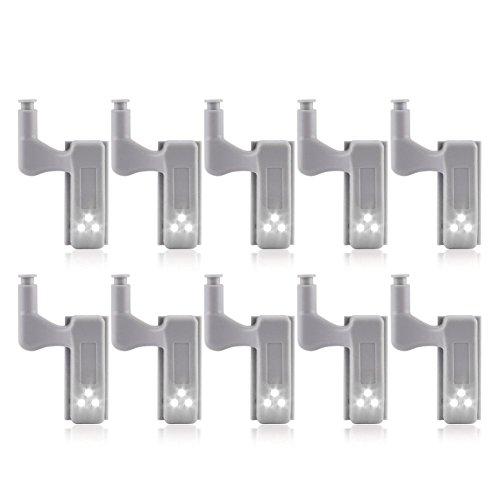 SODIAL 10Pcs Schrank Schrank Kleiderschrank LED Scharnier Licht intelligenter Sensor Lampe kaltweiss