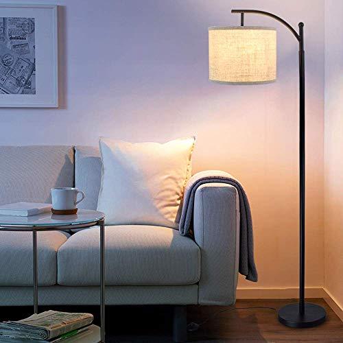 Depuley Lampadaire sur pied salon, lampe de sol intérieur chambre, lampadaire arc pencher à design moderne et nordique, noir en métal fer et tissu lin avec ampoule led e27 fournie, haut de 1.53m