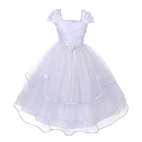 My Best Kids Big Girls White Floral Accent Pleated Triple Layer Communion Dress 9/10