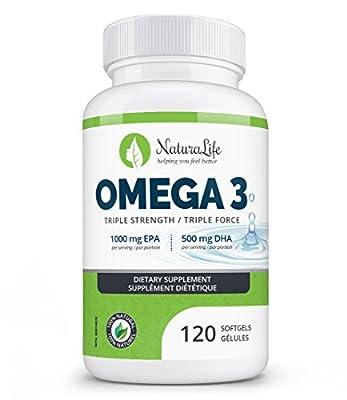 Triple Strength Omega 3 Fish Oil Capsules   High EPA & DHA   120 Burpless Pills   1000mg   100% Natural Essential Fatty Acids   Naturalife Organic Omega-3 Supplement