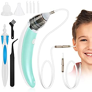 Ear Wax Vacuum Removal Strong Suction Earwax Remover Ear Wax Sucker Electric Ear Cleaner Soft Earwax Removal Kit Reusable Spiral Silicone Ear Wax Remover Tool for Kids Adult Pets
