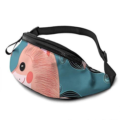 FengLiuAiShuaiGe Sac de Course Fox on A Blue Fanny Pack Fashion Waist Bag,
