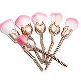 Morbido rosa fiore pennelli da trucco contorno viso Powder Foundation blush makeup brushes 6pcs