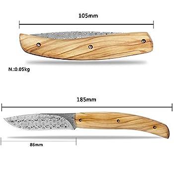 YOUSUNLONG Couteau de poche Damas - Couteaux pliants de survie Lame Damas de 86 mm (185 mm au total) Transport extérieur - Manche en bois d'olivier naturel avec étui en cuir