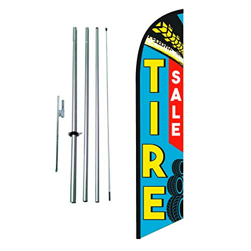 Tire Sale Shop Advertising Feather Banner Swooper Flag Sign with Flag Pole Kit and Ground Stake
