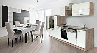 respekta Einbau Küche Küchenzeile 310 cm Eiche Sonoma Sägerau Front Weiss Ceran & Designer-Schräghaube